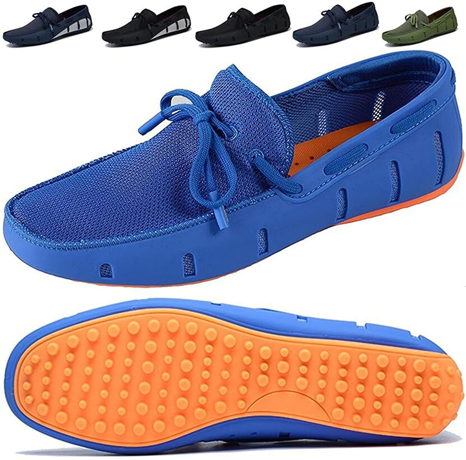 Go Tour Men's Driving Loafer Fashion Slipper Casual Slip On Loafers Boat Shoes for Beach, Pool,City and All Around Comfort 6.5 D(M) US|Blue-orange