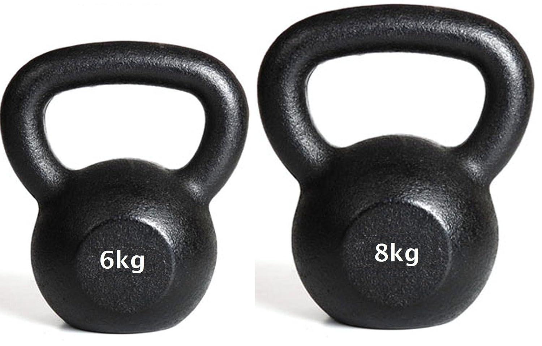 Kettlebell 6kg + 8kg Kugelhanteln Gusseisen Gewicht
