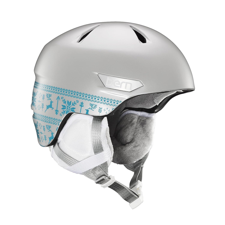 Bern 2016 / 17キッズ/ガールズBristow Jr冬雪ヘルメット B073SK1WB5  Satin Silver Fair Isle/White Liner Small/Medium
