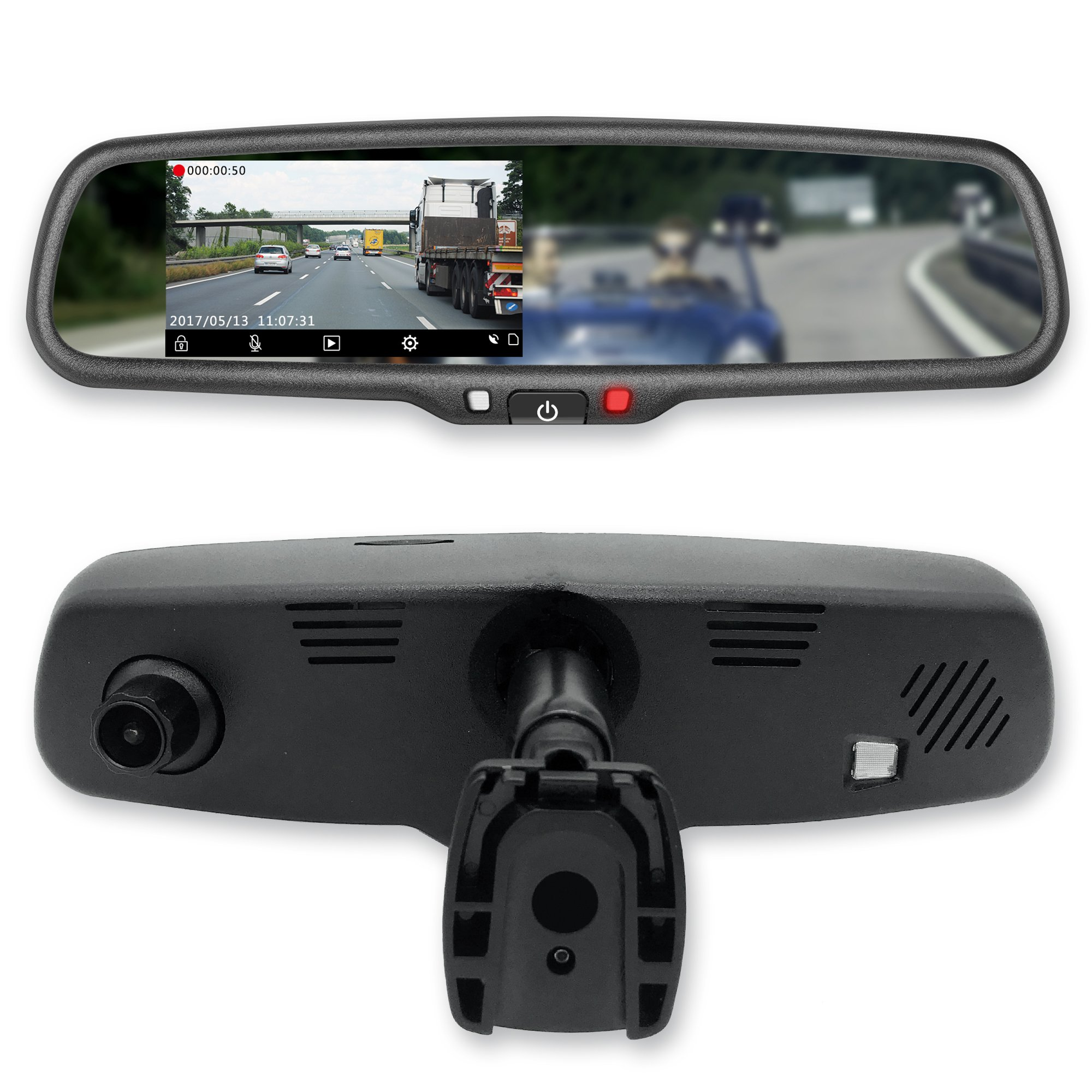 Master Tailgaters MR-43-E2DVR1 4.3'' LCD Rear View Mirror with 1080P 30fps HD DVR Dual Way Video Recorder with Wifi