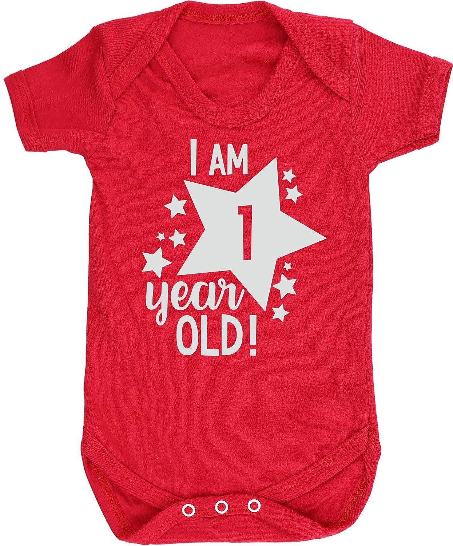 HippoWarehouse I Am 1 Year Old! 1st Birthday Milestone Birthday Chaleco para beb/és Pijama de Manga Corta para ni/ños Unisex