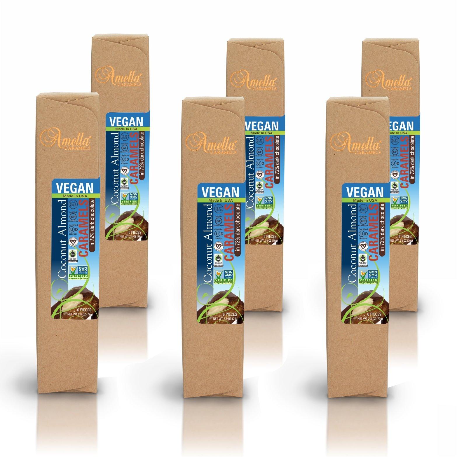 Organic Vegan Coconut Almond Caramels in 72% Dark Chocolate, 16.8 ounces (6 packs - 6 pcs/pack)