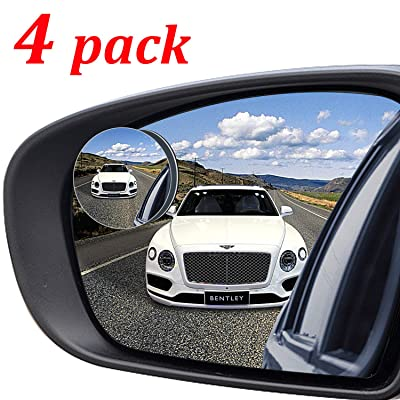 "Kribin 4 Pack Blind Spot Mirror, 2"" Round HD Glass Frameless Convex Rear View Blind Spot Mirror Stick On with 360° Rotation Adjustable for SUV Car Auto: Automotive"