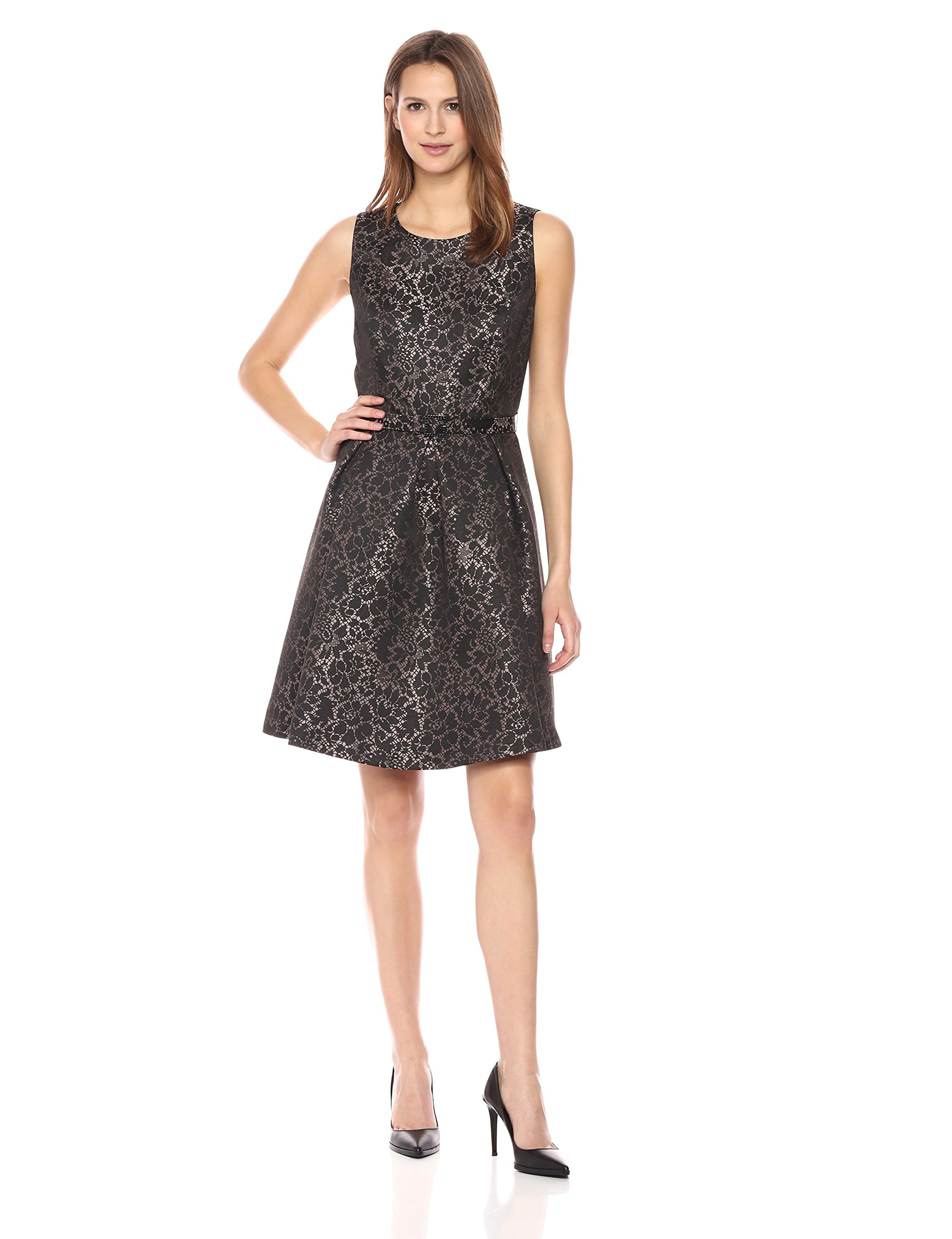 Nine West Women's Princess Seam Dress W Pleat Flare Skirt and Belt, Black/Cameo Multi, 8