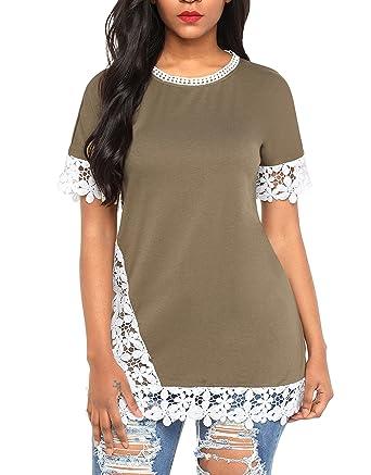 5577ceaf192ed Sidefeel Women Crochet Lace Trim Short Sleeve Top Tunic Medium Amy Green