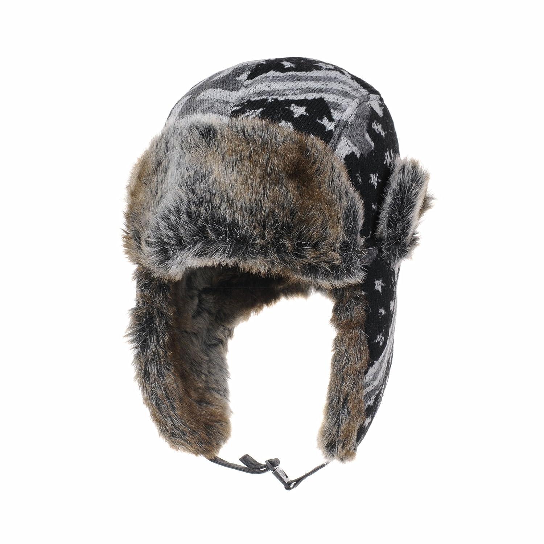 WIM Cappello Aviatore Wool Russian Hat Winter Trapper cap Faux Fur SL7883