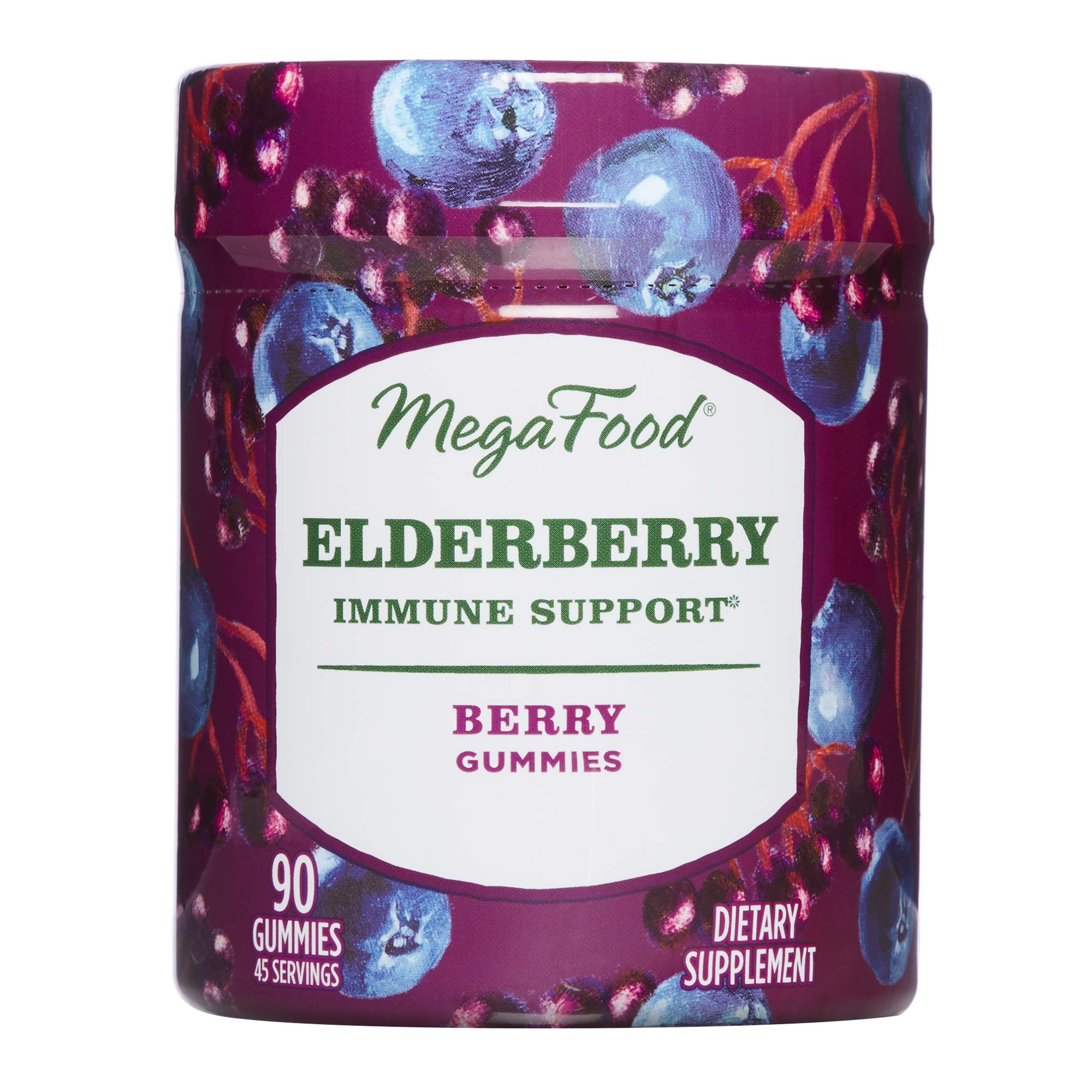 MegaFood, Elderberry Immune Support Gummies, Promotes Immune Defenses, with Zinc and Organic Elderberry, Vegan and USDA Organic, 90 Gummies (45 Servings)