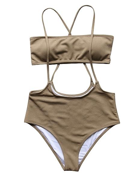 55c7735469 OMKAGI Women's Ribbed High Waisted Slip Bikini Bottom Bandeau Top Swimsuits  2 Pieces(S,