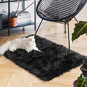Ophanie Ultra-Luxurious Fluffy Rectangle Area Rug, Soft and Thick Faux Fur Chair Couch Cover Small Shaggy Rug Non-Slip Carpet for Bedroom, Kids/Baby Room, Modern Decor Rug, 2x3 Feet, Black