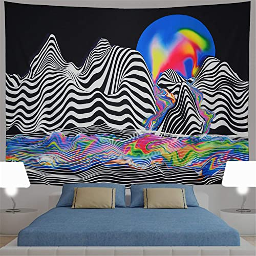 Generleo Black Mountain Tapestry Psychedelic Wall Tapestry Trippy Colorful Sun Tapestry Black and White Tapestry Hippie Tapestry Abstract River Tapestry Wall Hanging for Bedroom