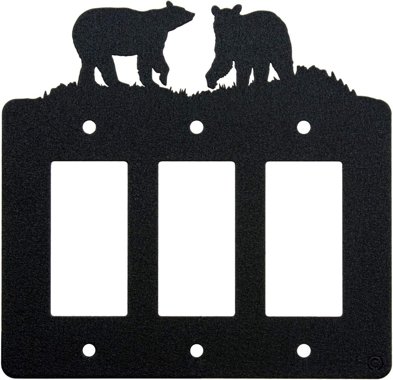 Bear Triple Gang Light Switch Wall Plate (Triple Rocker (GFCI), Black)