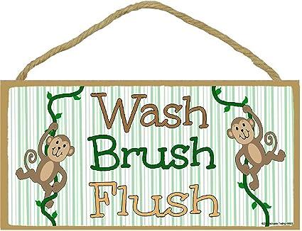 kids bathroom sign hand signal monkeys wash brush flush kids bathroom sign plaque 5quot amazoncom