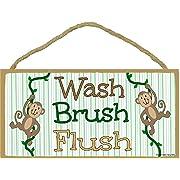 Blackwater Trading Monkeys, Wash, Brush Flush Kids Bathroom Sign Plaque 5 x10