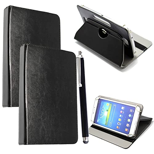 """Colourful Stuff 10inch Tablet Case Cover - Universal Leather Stand Case Folio Cover Magic Leather 360° Rotating Case Fits for ALL 10"""" Inch & 10.1"""" Inch Android Tablets tab + Free Stylus Touch Pen (BLACK CASE COVER)"""