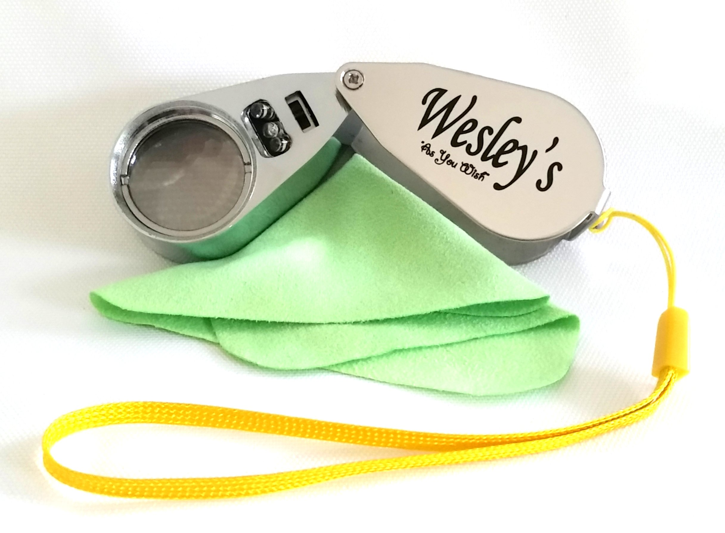 Wesley's 40X Jewelers Loupe Magnifier LED/UV Illuminated, Jewelers Magnifying Glass, Pocket Folding Magnifier for Gardening, Kids, Hobby Crafts, Coin and Rock Collecting