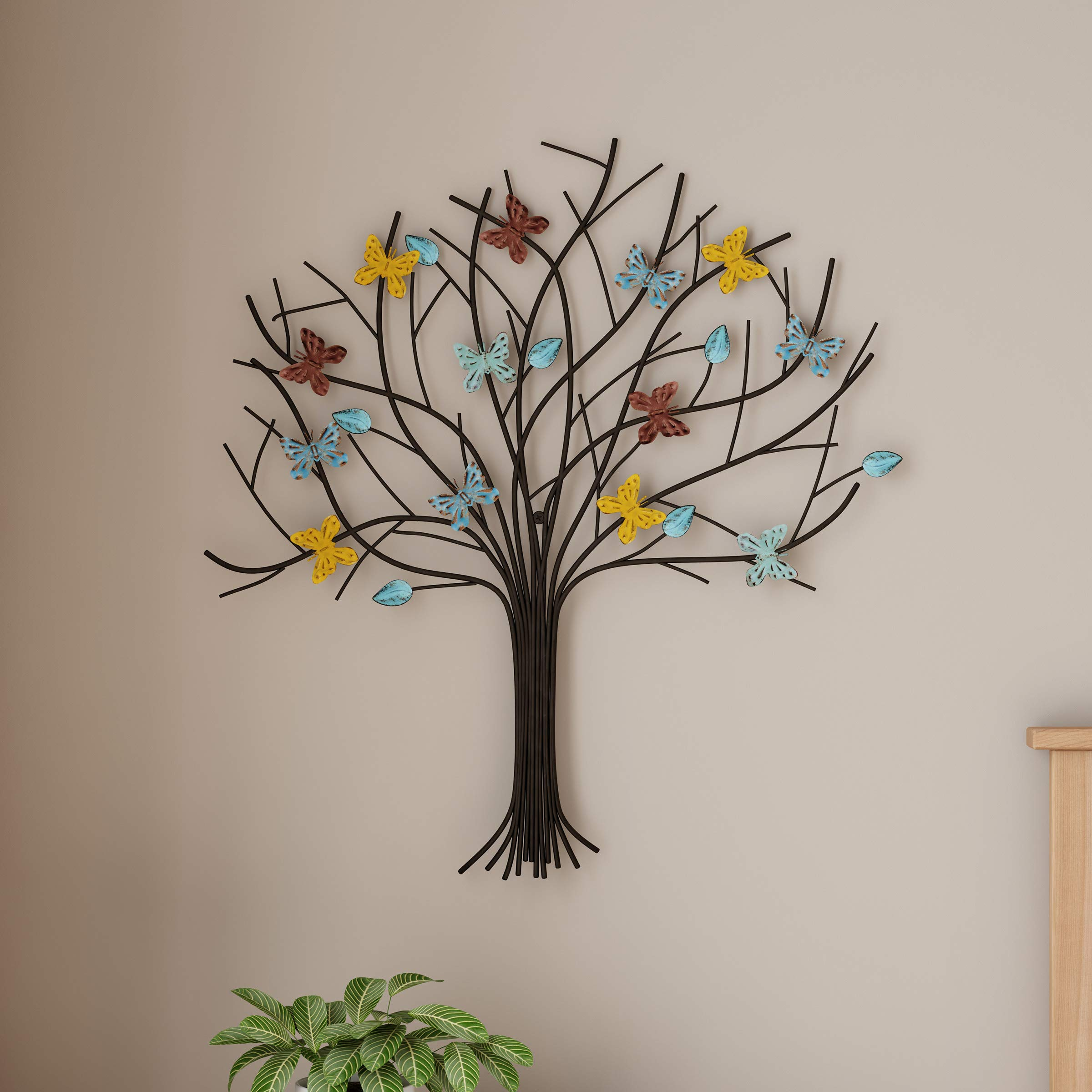 Lavish Home Tree of Life Metal Wall Art Hand Painted 3D Butterflies/Leaves for Modern Farmhouse Rustic Home or Office Decor by Lavish Home