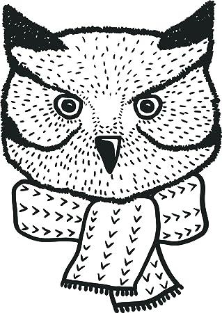 Amazoncom Cute Black And White Owl Sketch Cartoon Vinyl Sticker