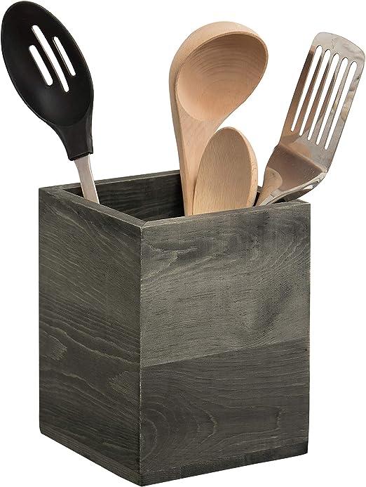 MyGift Rustic Gray Wood Kitchen Utensil Crock, Countertop Cooking Tools  Holder