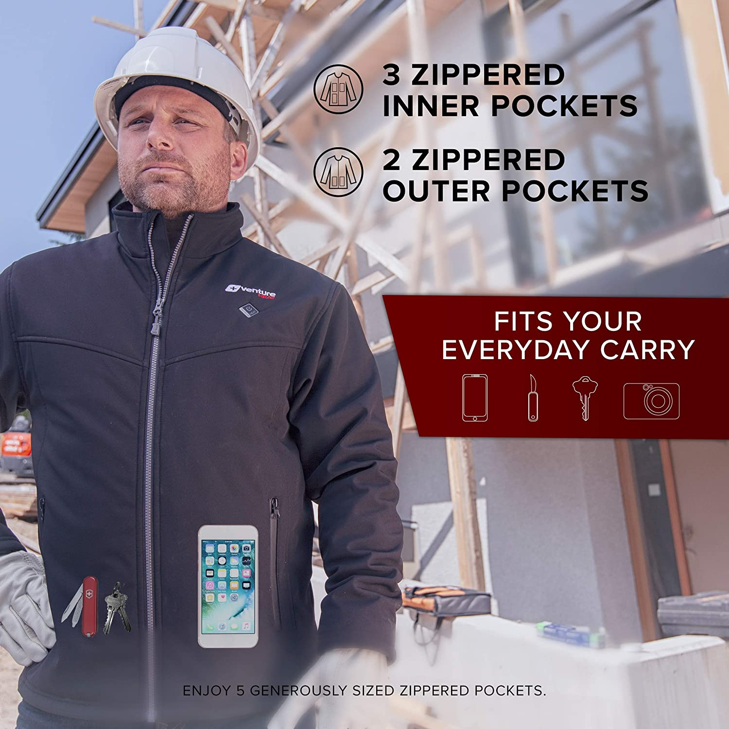 Venture Heat Mens Softshell Heated Jacket with Battery Pack Windproof Electric Coat Outerwear Outlast 2.0