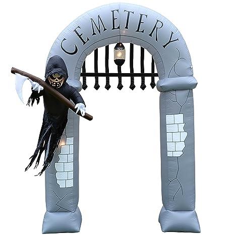 Amazon.com: WeRHalloween Prelit cementerio arco hinchable ...