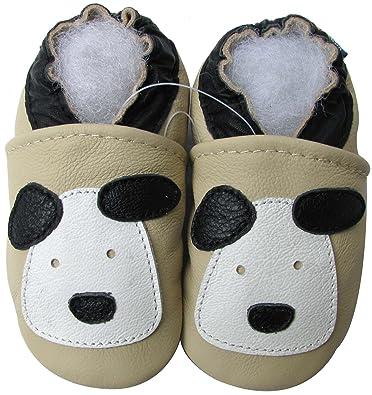 a3aa7b43811f9 Carozoo Cuir Semelle Souple Chaussures bébé Toddler Enfants Chaussons  Little Puppy Crème - Jaune - crème
