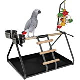 Parrot Bird Perch Table Top Stand Metal Wood 2 Steel Cups Play Medium Large Breeds