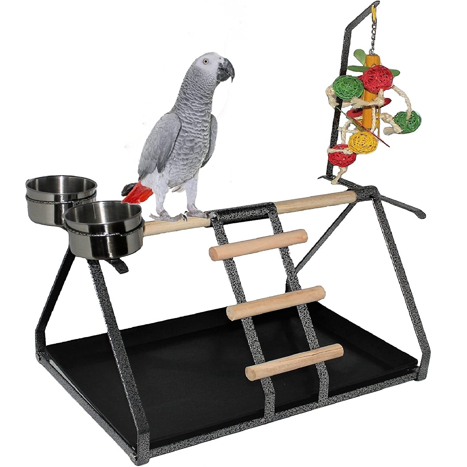 "FDC Parrot Bird Perch Table Top Stand Metal Wood 2 Steel Cups Play for Medium and Large Breeds 17.5"" x 12.5"" x 11"""