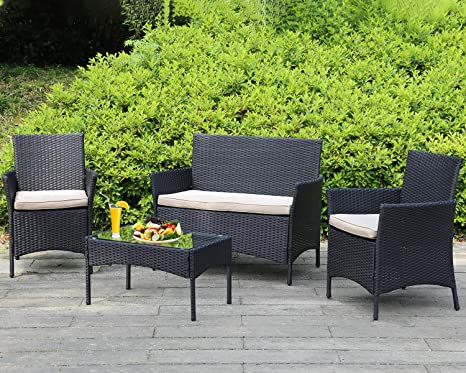 Outdoor Patio Furniture Sets 4 Pieces Patio Set Rattan Chair Wicker Sofa Conversation Set Patio Chair For Backyard Lawn Porch Poolside Balcony Garden Furniture Sets With Coffee Table Amazon In Garden Outdoors