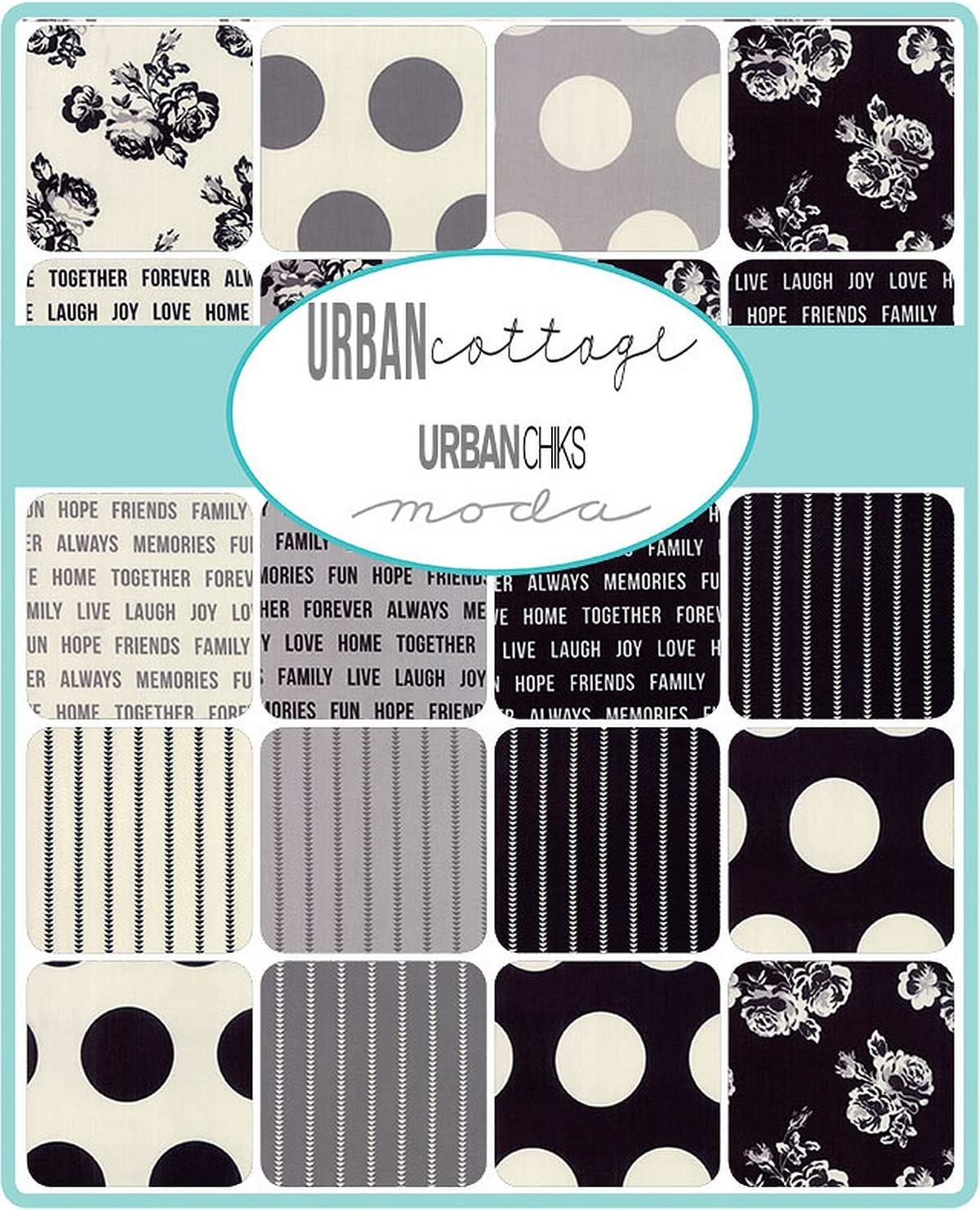 Urban Cottage Prints Mini Charm Pack by Urban Chiks; 42-2.5 Inch Precut Fabric Quilt Squares