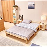 GreenForest Pine Bed Double Wooden Bed Frame Pine Color