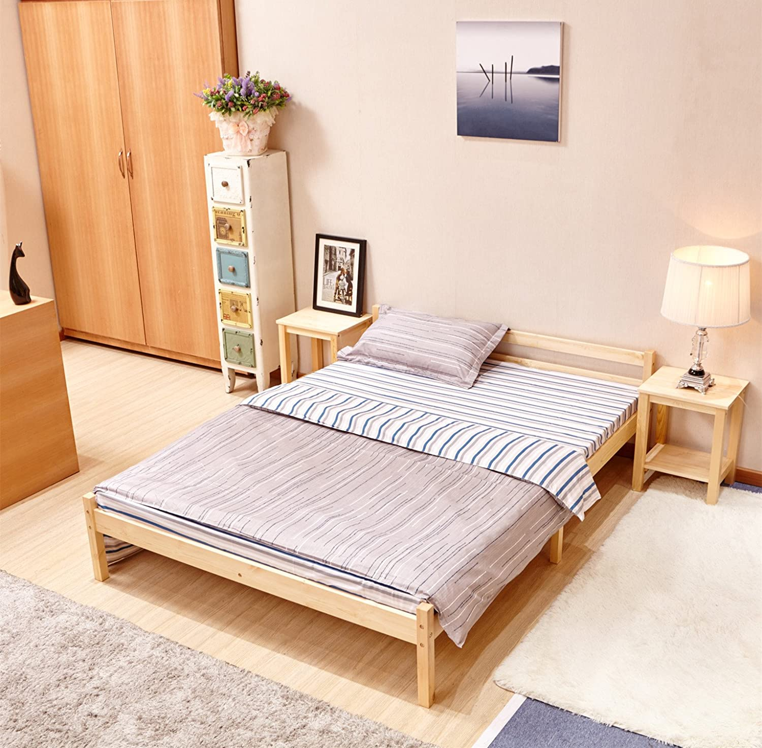 Solid steady easy assemble pine bed double wooden frame colour ebay - Testiere letto ikea ...