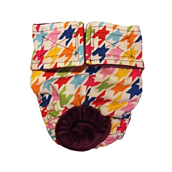 Perro Pañales – fabricado en Estados Unidos – colorido Houndstooth lavable perro pañales para incontinencia,