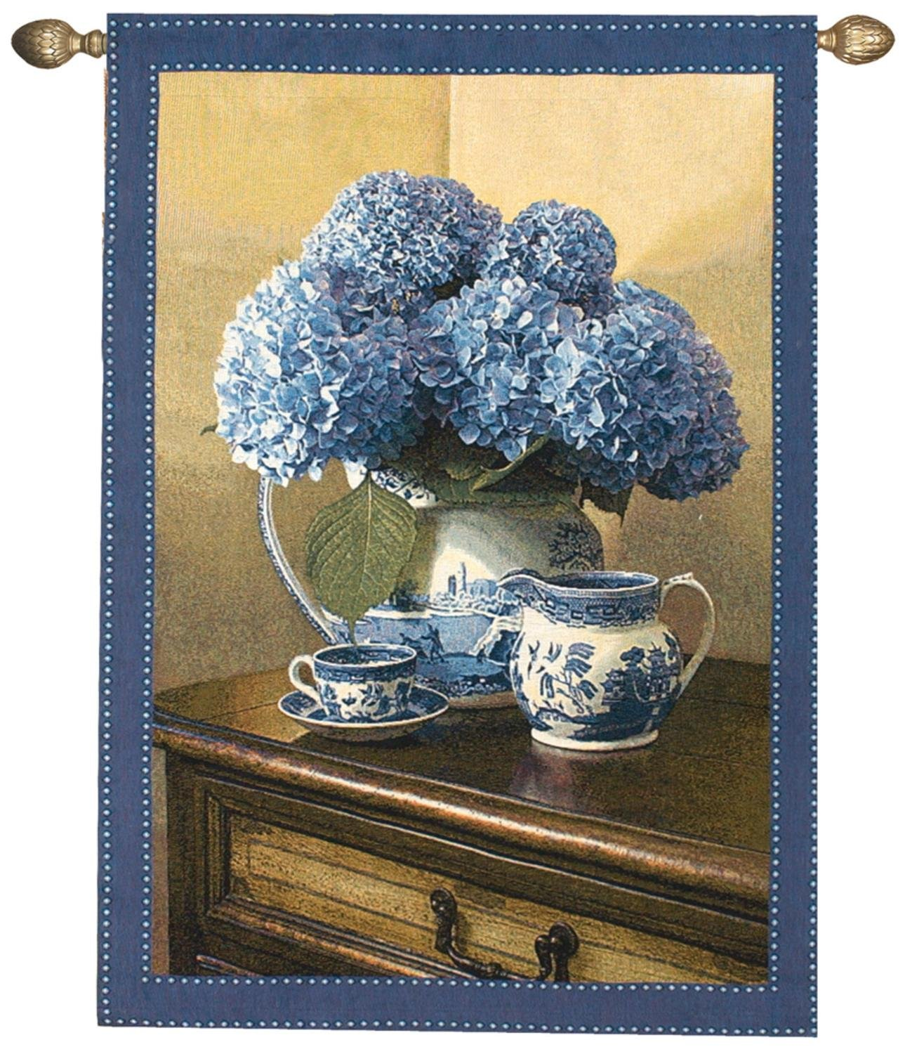 English Blue Willow China and Floral Cotton Wall Art Hanging Tapestry 47'' x 35''
