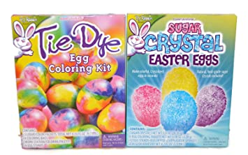 Amazon.com : Tie Dye And Sugar Crystal Easter Egg Coloring Kit ...