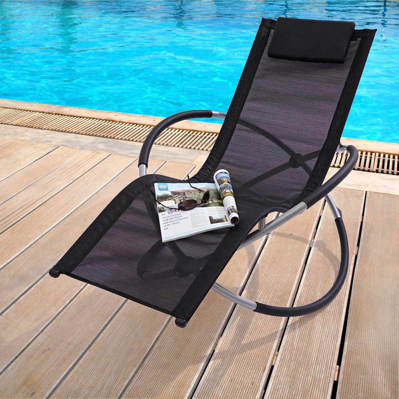 Zen Black Folding Garden Sun Lounger Rocking Chair