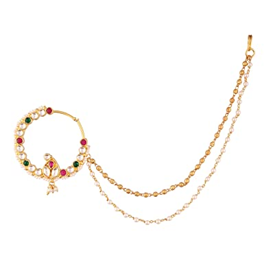 Buy Accessher Bridal Jadau Kundan Nose Ring With Chain At Amazon In