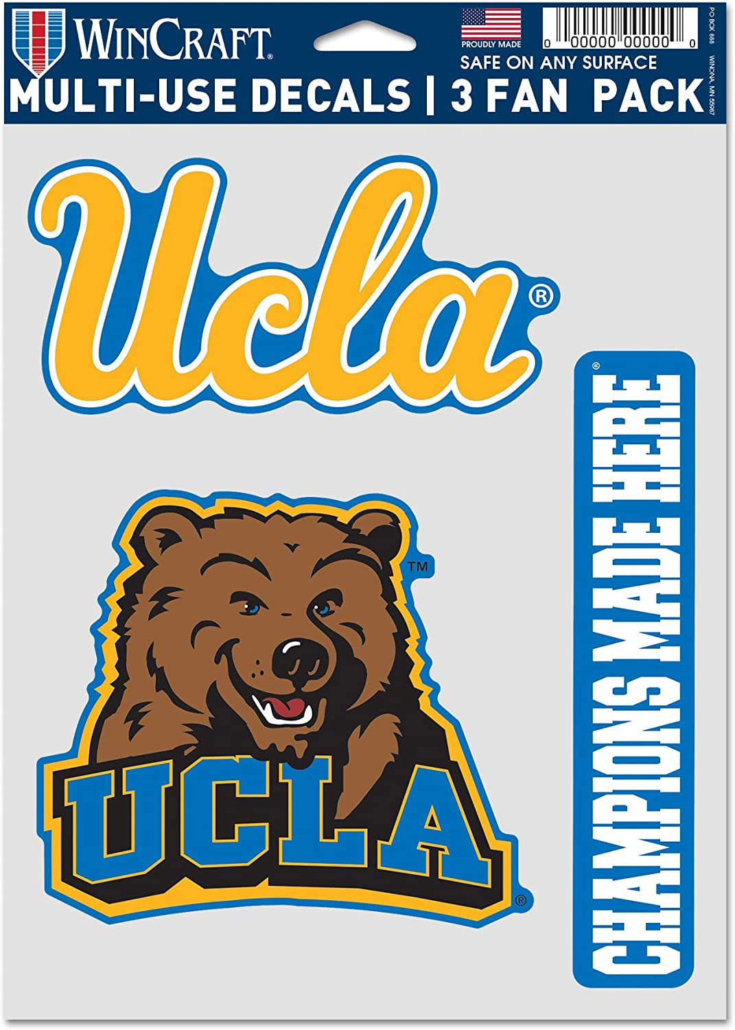 """WinCraft NCAA UCLA Bruins Multi-Use Decal 3 Fan Pack, Team Colors, 5.5"""" x 7.75"""" Inch Sheet"""