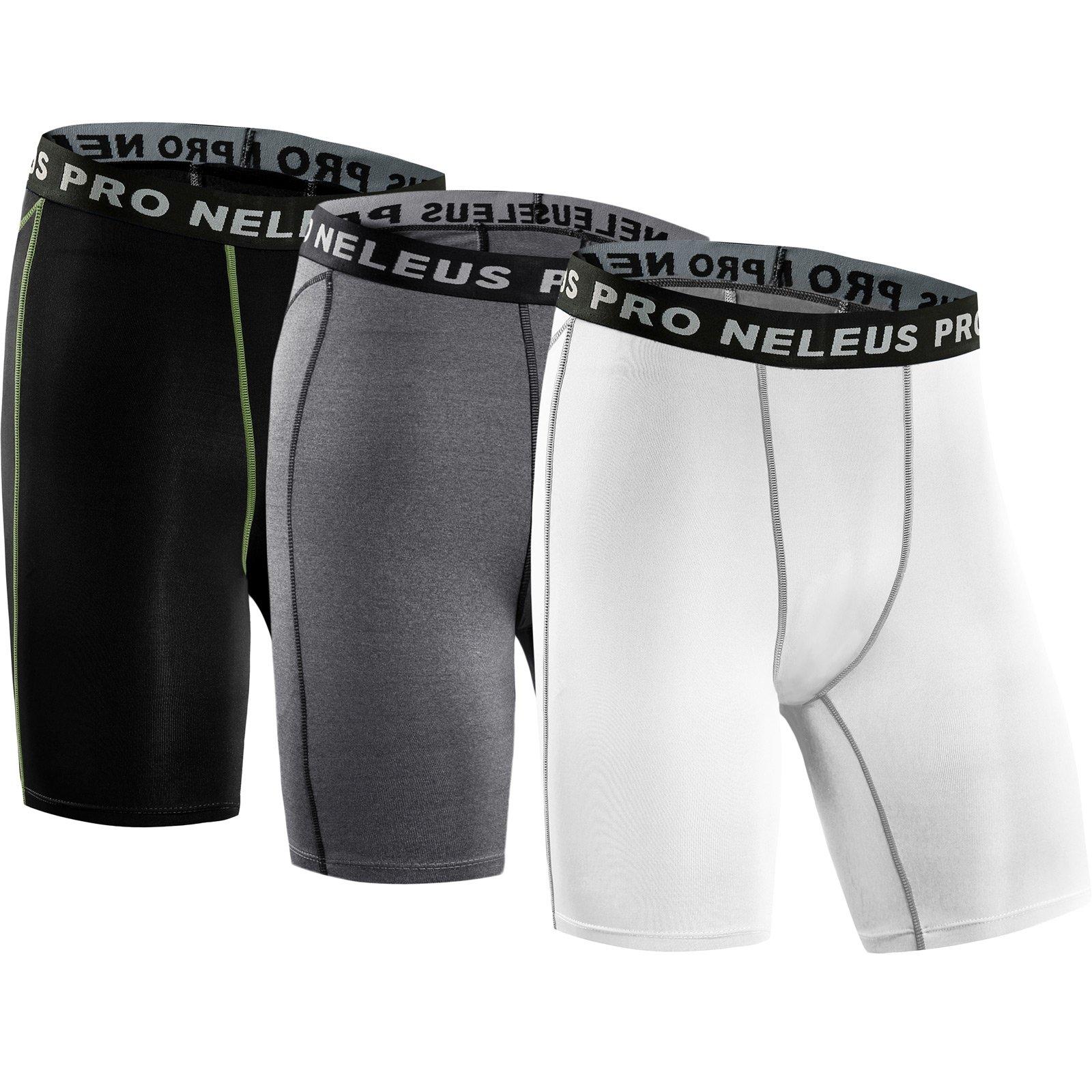 Neleus Men's 3 Pack Compression Short,047,Black,Grey,White,US L,EU XL by Neleus