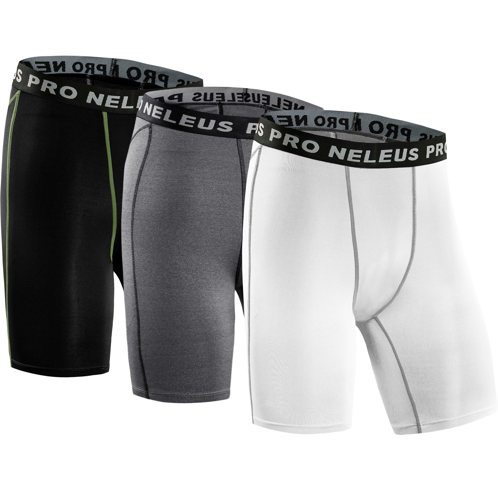 Neleus Men's 3 Pack Compression Short,047,Black,Grey,White,US S,EU M