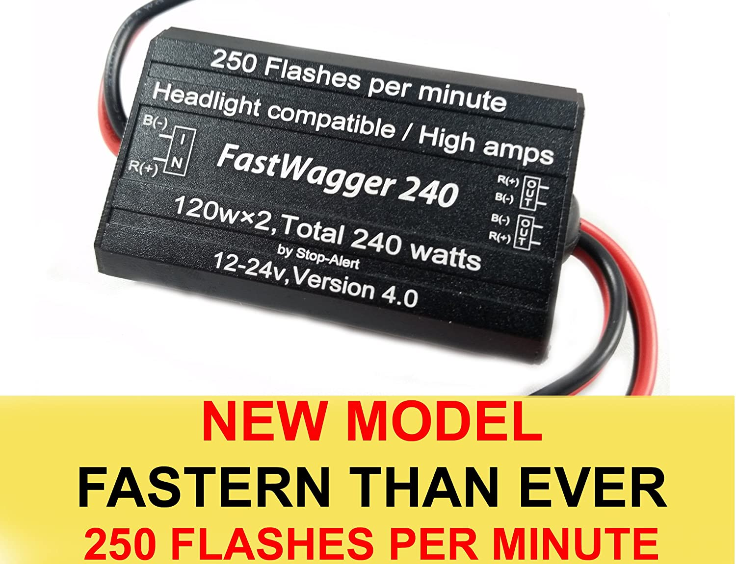 Stop-Alert WigWagger 240 HEADLIGHT Wig Wag Alternating Flasher Electronic Relay LED Xenon Halogen HID Incandescent Emergency Police Ambulance Trucks 10 AMP 240W 12-24V 150 FPM