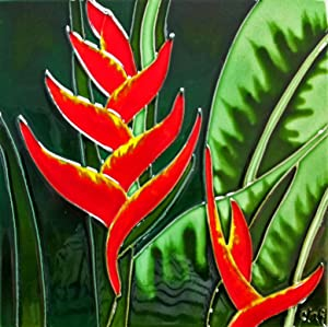 Continental Art Center BD-0352 8 by 8-Inch Orange Heliconia Ceramic Art Tile