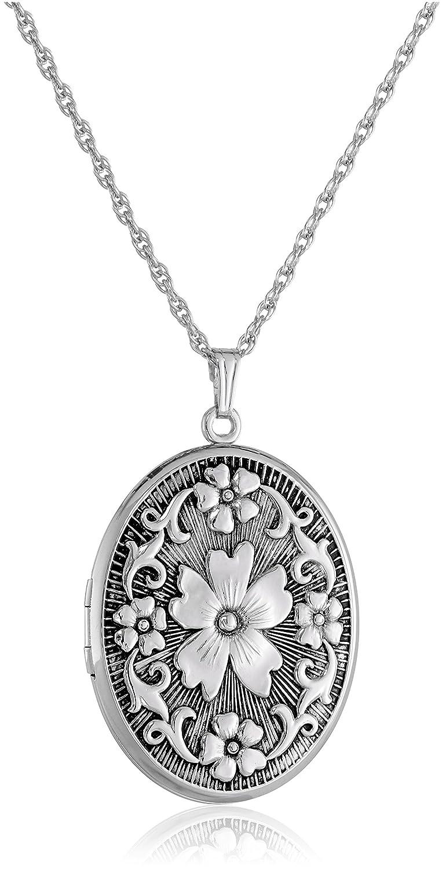 "Sterling Silver Oval Floral Locket Necklace, 22"""