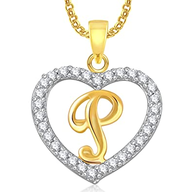 Buy Meenaz 'P' Letter Heart Pendant Locket Alphabet For Women And ...