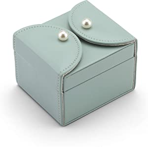 Vlando Mini Ring Box Organizer, Soft PU Leather Wooden Travel Jewelry Storage Case Trays with 2 Layers for Bracelets, Earrings, Rings, Necklaces, Brooches-Gifts for Mother Girls Women(Water Green)