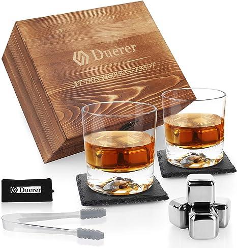 Duerer Juego de Vasos de Whisky, 8 Cubitos de Hielo de Acero Inoxidable en Caja de Madera, Regalo para Hombres, papá, Novio, cumpleaños o Aniversario, ...