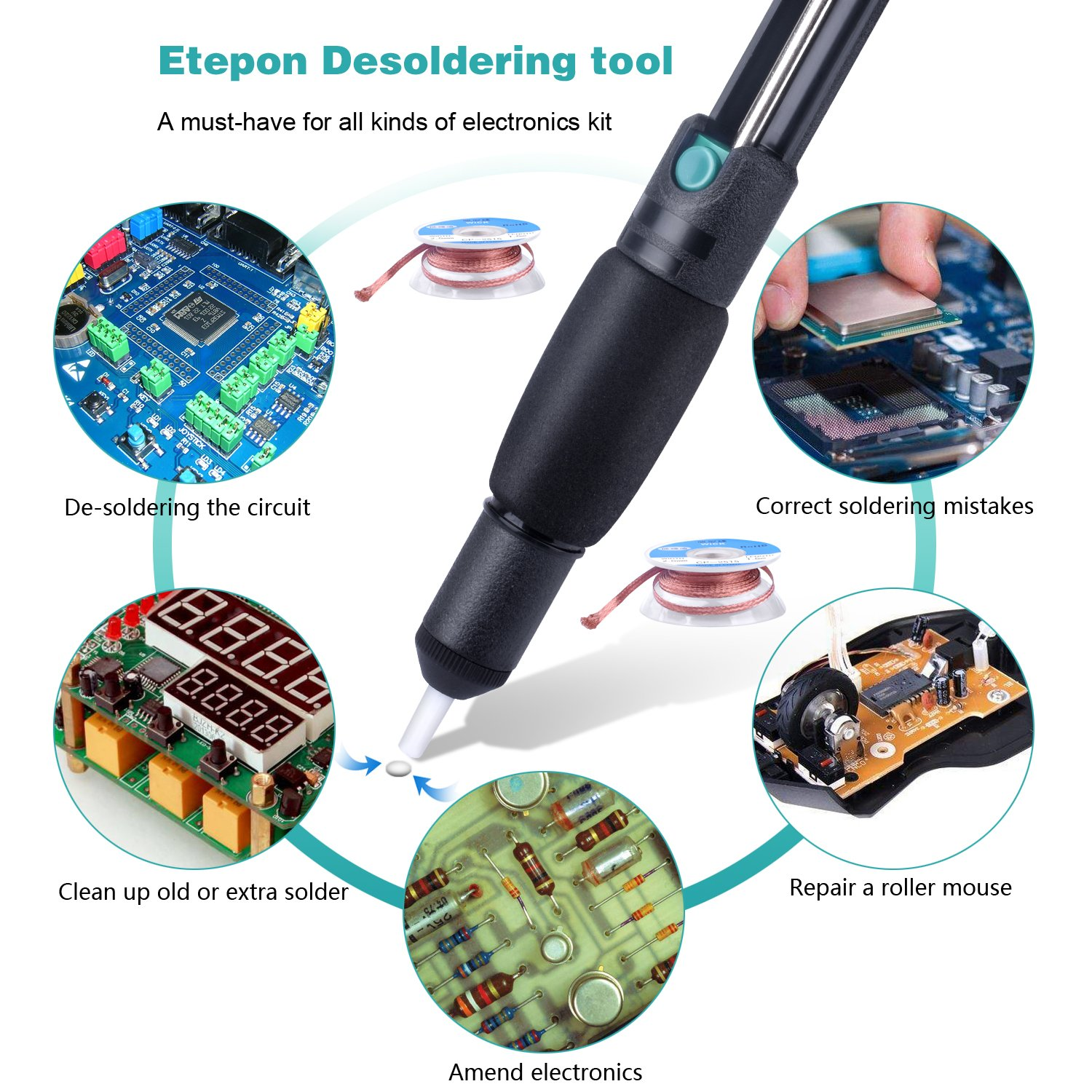 Etepon 3 In1 Solder Accessories Anti Static Sucker Copper Braid For Removing From Printed Circuit Boards Desoldering Vacuum Pump 2pcs Wick 25mm Width 15m Length Assist Tool Kit