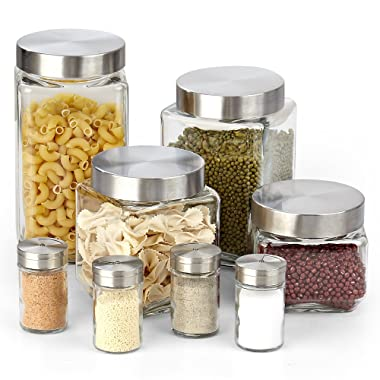 Cook N Home 02558 8-Piece Glass Canister and Spice Jar Set with Lids, 71 oz./2.1L, 60 oz./1.8L, 44 oz./1.3L, 30 oz./0.9L, Clear