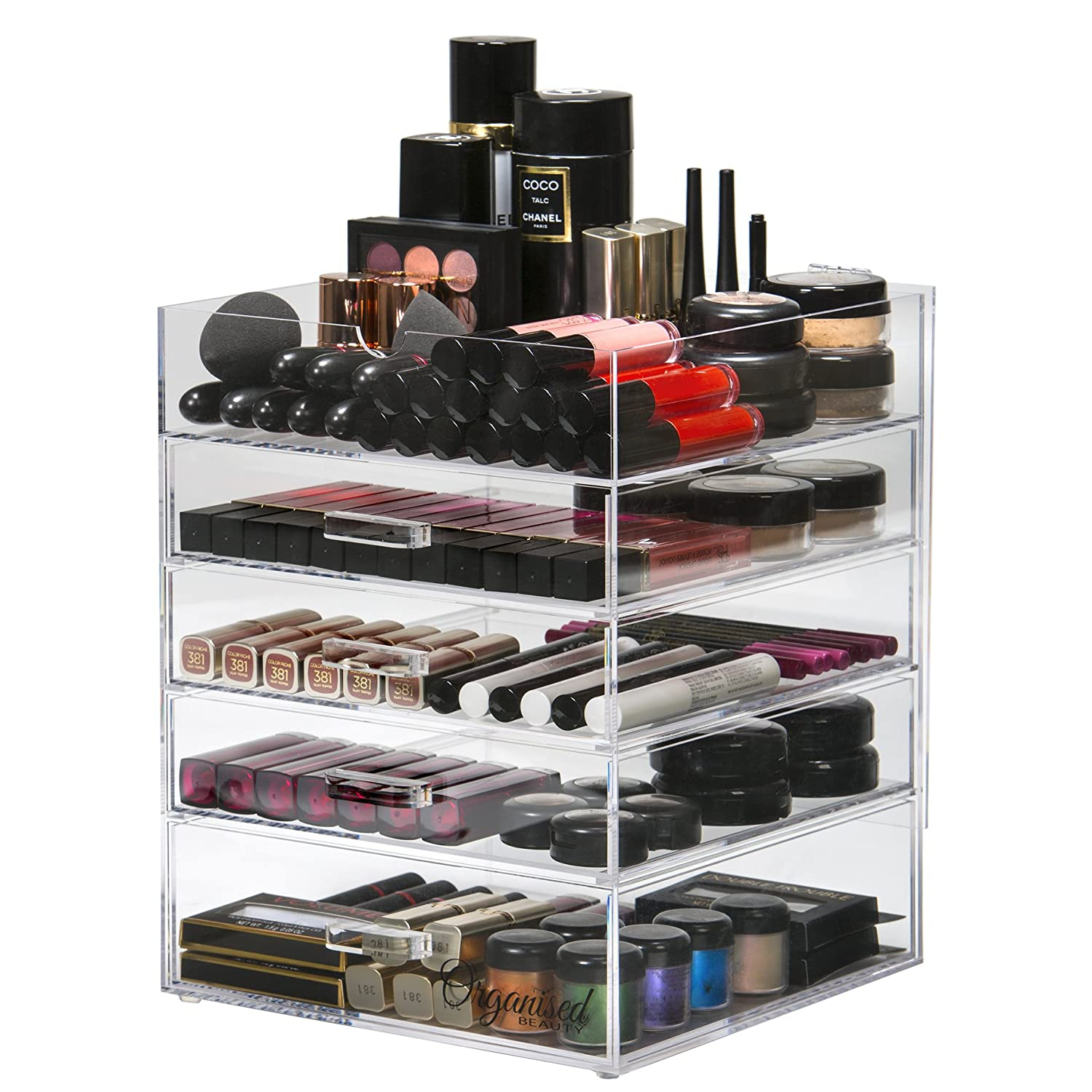 5 Tier Acrylic Makeup Storage Organiser Clear | Cosmetic Organiser 4 Drawer Storage | Flip Top Lid | By Organised Beauty