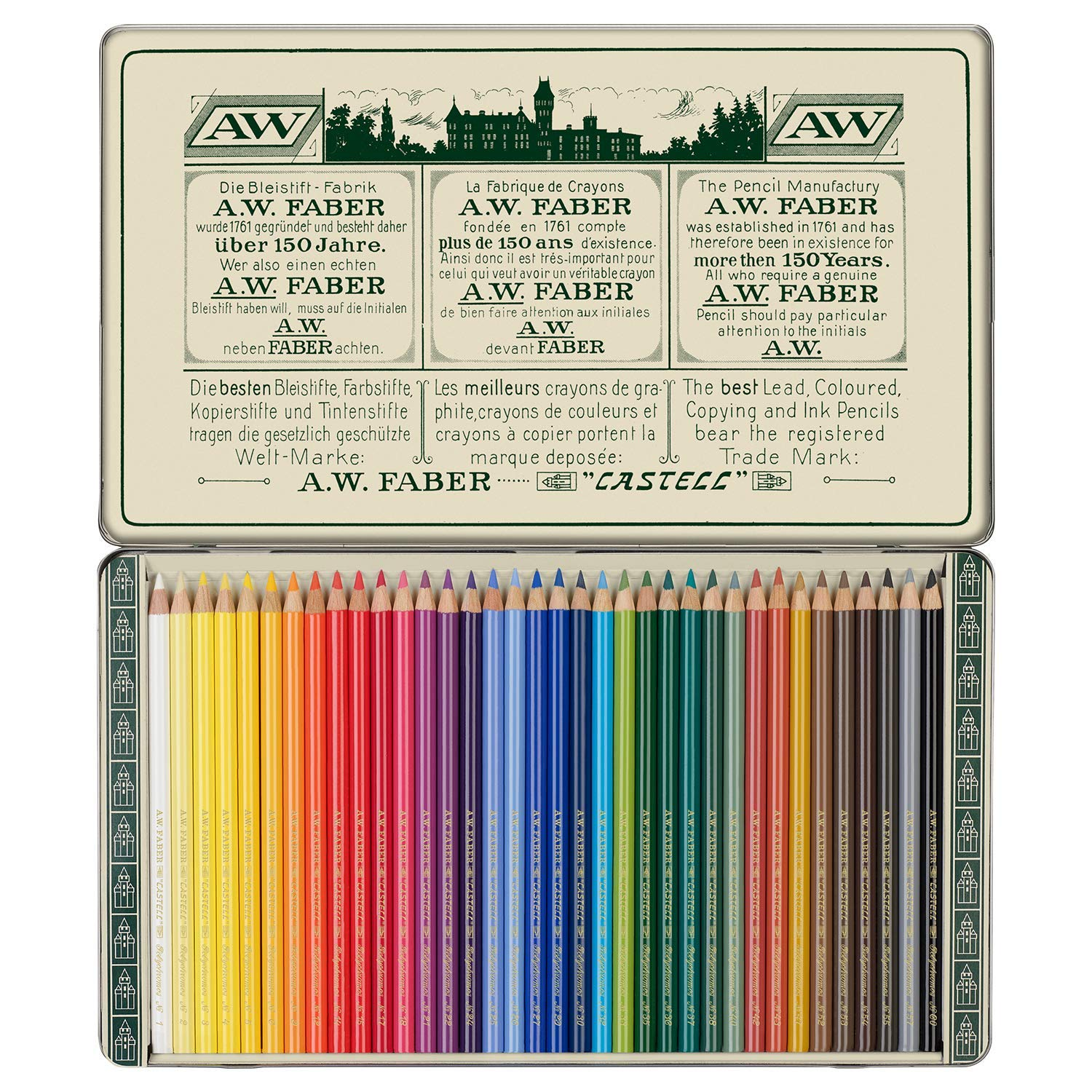 Faber-Castell Polychromos 111th Anniversary Limited Edition Wood Colored Pencil Tin - 36 Colors by Faber-Castell (Image #2)