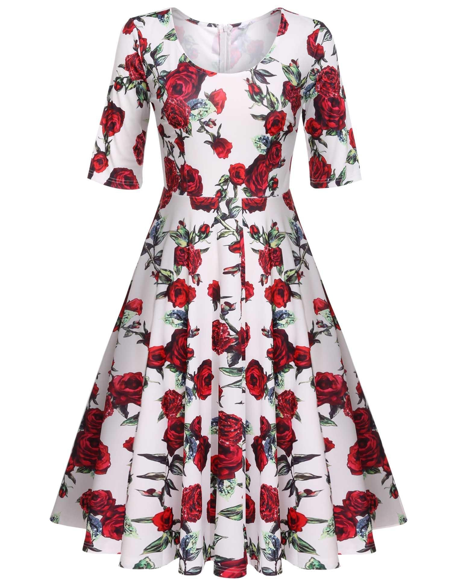 ELESOL Women's Vintage 1950s Style Half Sleeve Floral A-line Dress,Red/XXL
